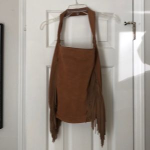 Genuine Leather Suede Purse with Fringe